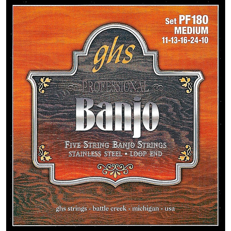 GHSStainless Steel 5-String Banjo Strings - Medium