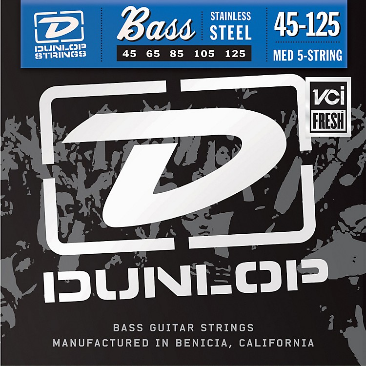 Dunlop Stainless Steel Medium 5 String Bass Strings