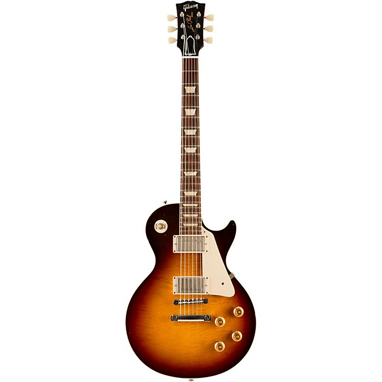 Gibson CustomStandard Historic 1958 Les Paul Plaintop Reissue Lightly Aged Electric GuitarFaded Tobacco