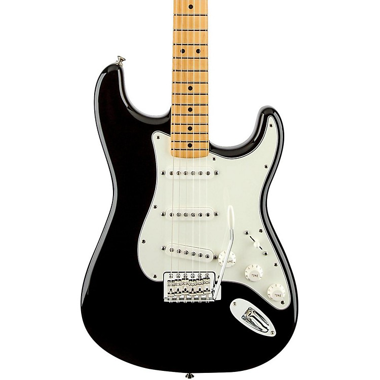 Fender Standard Stratocaster Electric Guitar with Maple Fretboard Black Gloss Maple Fretboard