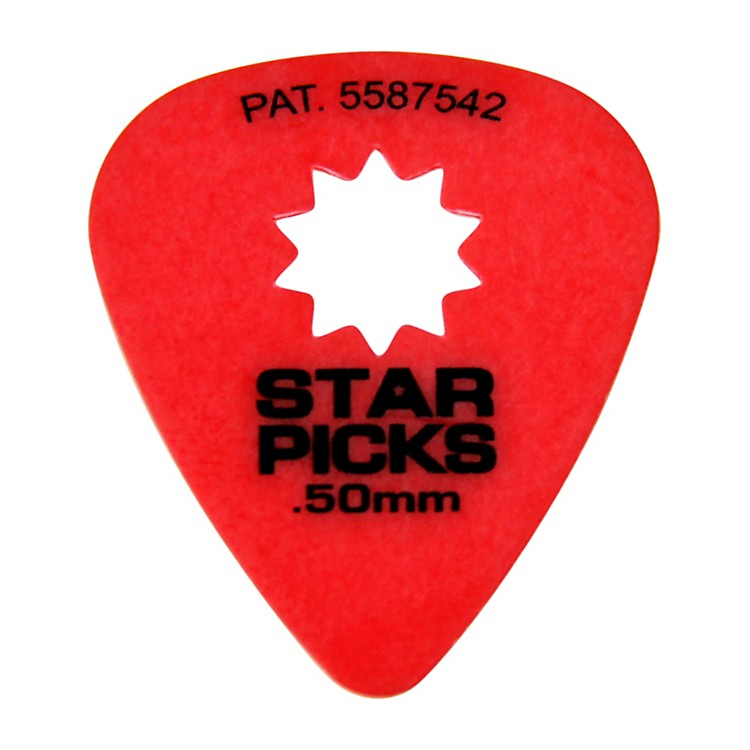 Everly Star Grip Guitar Picks (50 Picks) .50 mm Red