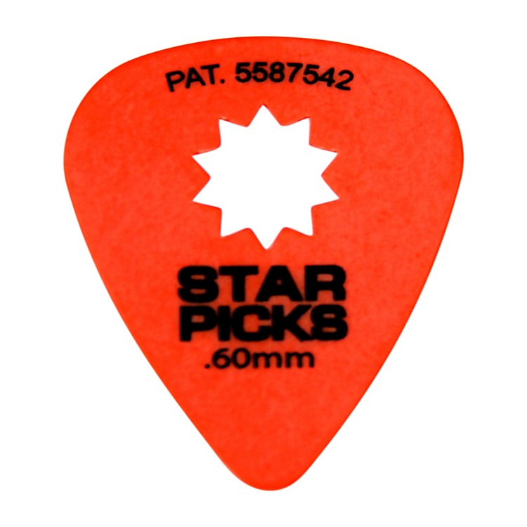 Everly Star Grip Guitar Picks (50 Picks) .60 mm Orange