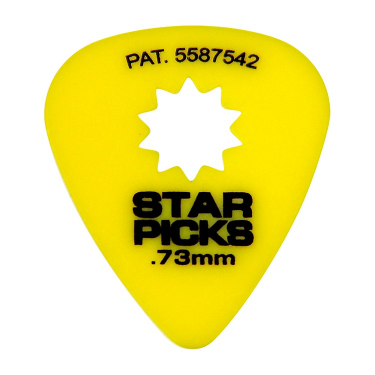 Everly Star Grip Guitar Picks (50 Picks) .73 mm Yellow