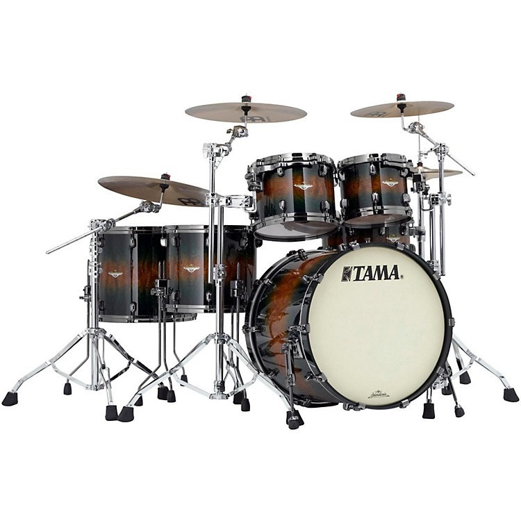 Tama Starclassic Bubinga Exotix 5-Piece Shell Pack with Black Nickel Hardware Jungle Burst Quilted Bubinga
