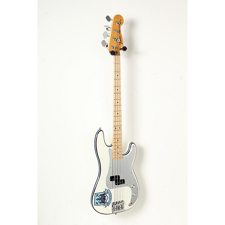 Fender Steve Harris Signature Precision Bass Electric Bass Guitar Olympic White with Pinstripe 888365851396