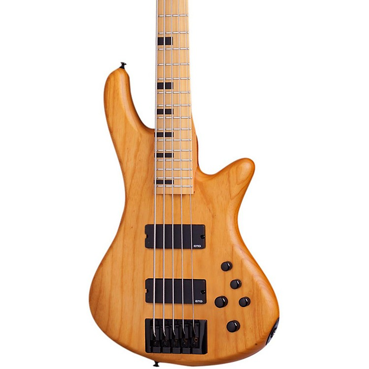 Schecter Guitar Research Stiletto-5 Session 5 String Electric Bass Guitar Aged Natural Satin