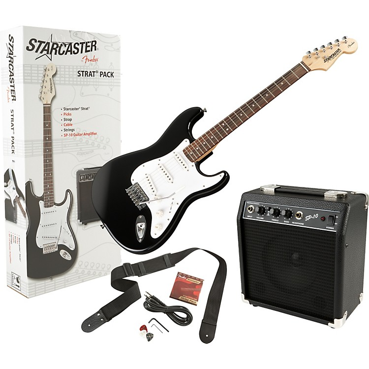 Fender Starcaster Stratocaster Electric Guitar Value Pack Black