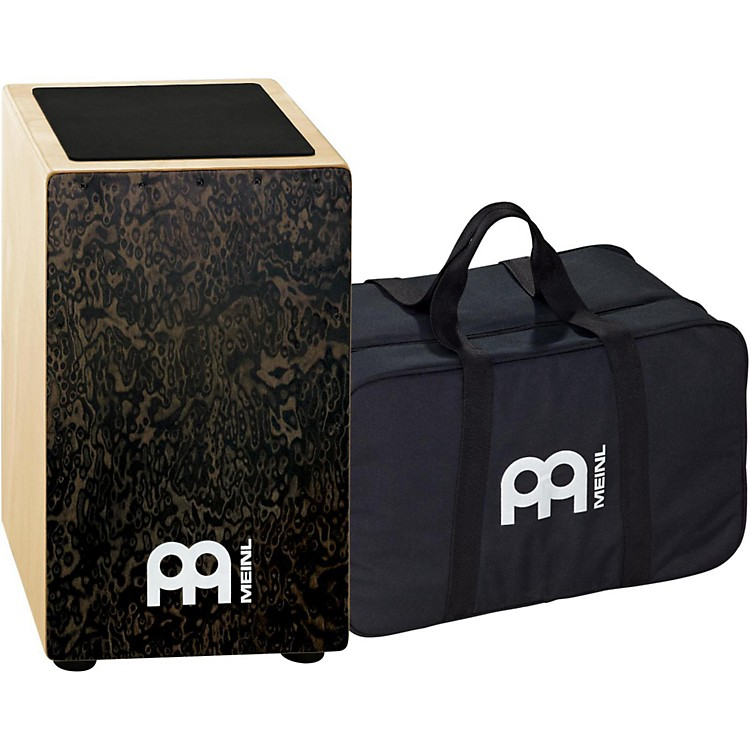 Meinl String Cajon with Bag Black Makah Burl Frontplate