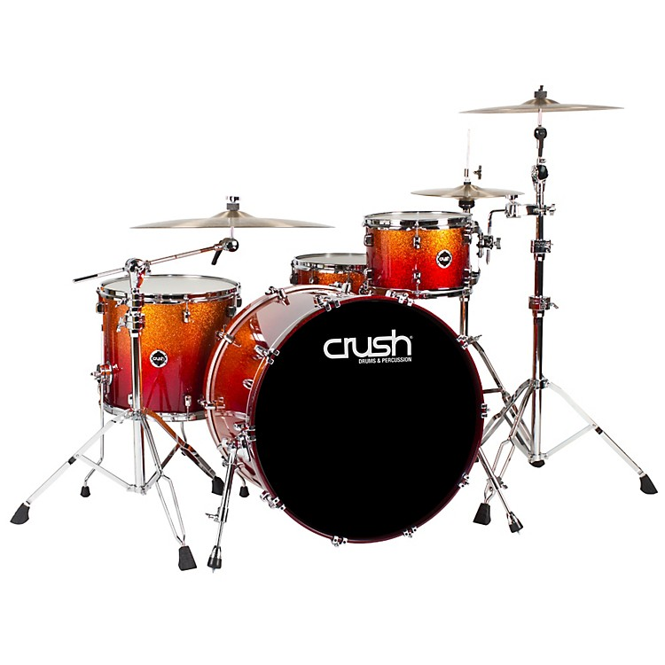 Crush Drums & PercussionSublime E3 Maple 4-Piece Shell Pack High Gloss Lacquer with 24 Inch Bass DrumOrange Sparkle Red Fade