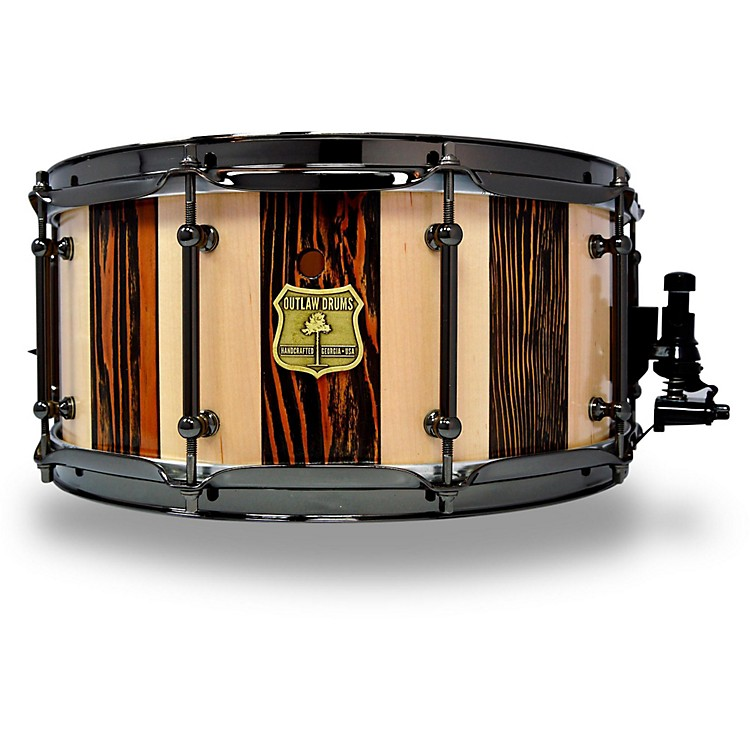 OUTLAW DRUMSSuite Stripe Douglas Fir and Maple Stave Snare Drum with Black Chrome Hardware14 x 6.5 in.Black/Natural
