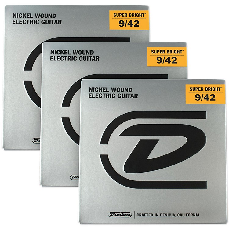 Dunlop Super Bright Light Nickel Wound Electric Guitar Strings (9-42) 3-Pack