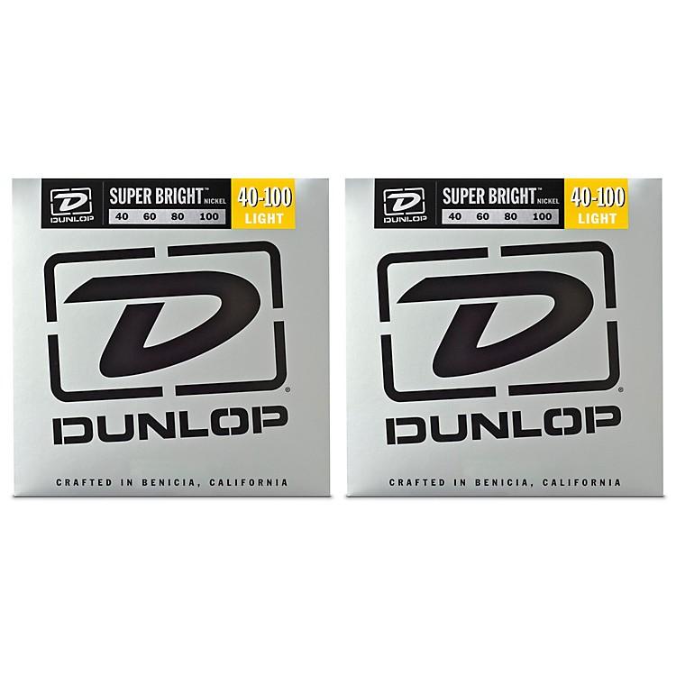 DunlopSuper Bright Nickel Light 4-String Bass Guitar Strings (9-42) 2-Pack