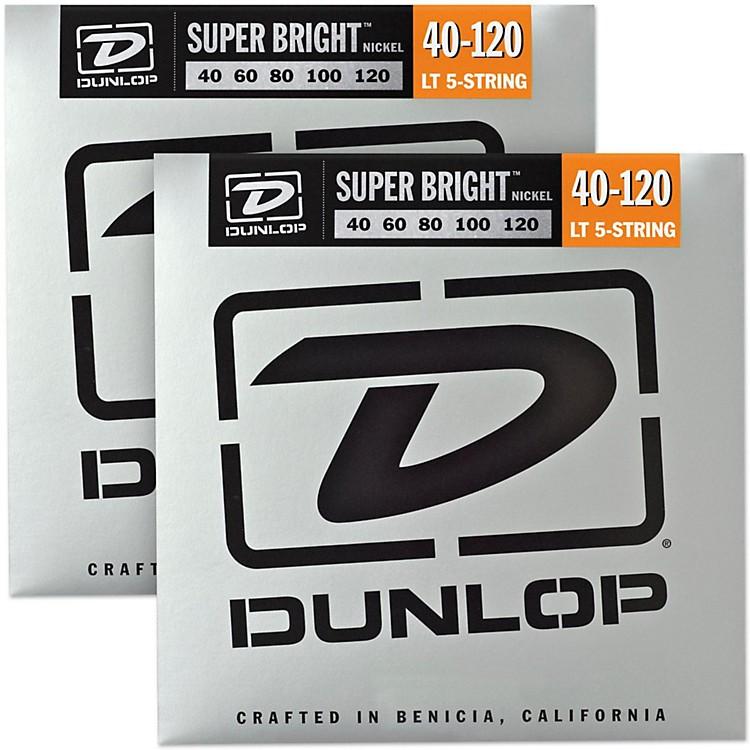 DunlopSuper Bright Nickel Light 5-String Bass Guitar Strings (4-120) 2-Pack