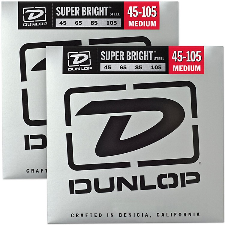 DunlopSuper Bright Steel Medium 4-String Bass Guitar Strings (45-105) 2-Pack