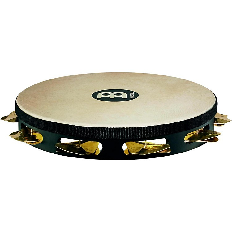 Meinl Super-Dry Studio Goat-Skin Wood Tambourine One Row Brass Jingles Black