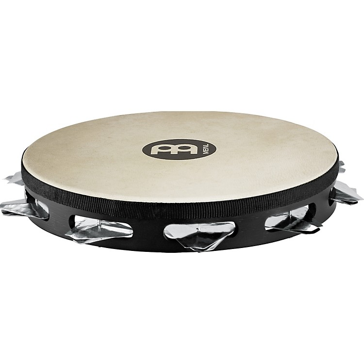 Meinl Super-Dry Studio Goat-Skin Wood Tambourine One Row Stainless Steel Jingles Black