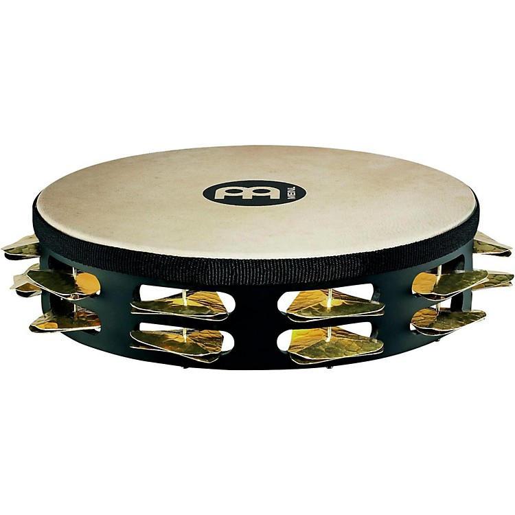 Meinl Super-Dry Studio Goat-Skin Wood Tambourine Two Rows Brass Jingles Black