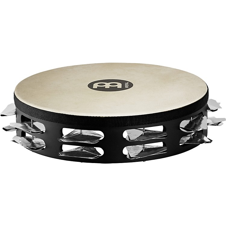Meinl Super-Dry Studio Goat-Skin Wood Tambourine Two Rows Stainless Steel Jingles Black