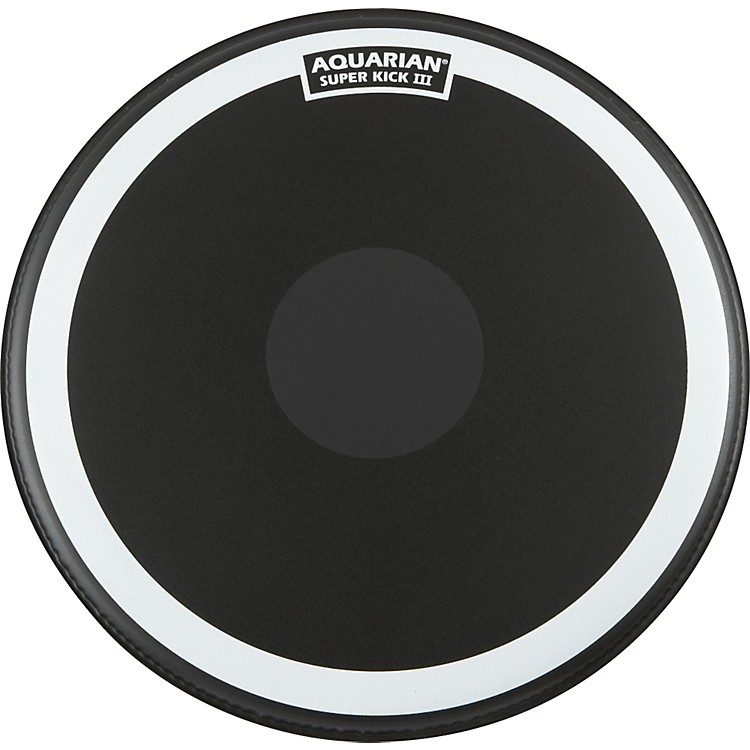 Aquarian Super-Kick III Black Drumhead 24 in.
