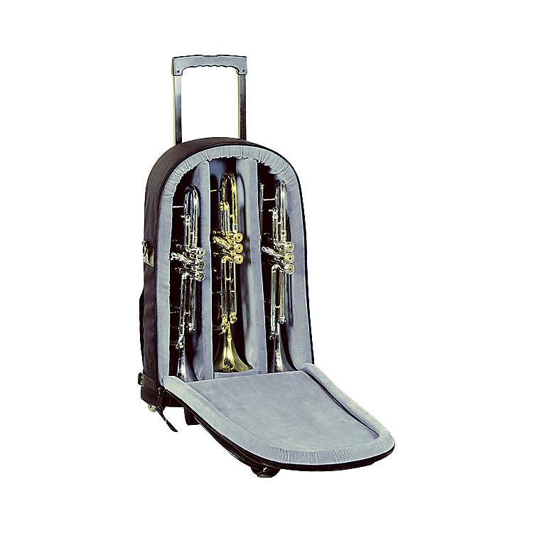 Allora Super Triple Trumpet Wheelie Bag 14-WBFSK Black Gard Synthetic w/ Leather Trim