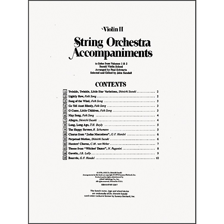 Alfred Suzuki String Orchestra Accompaniments to Solos from Volumes 1 & 2 for Violin 2 Book