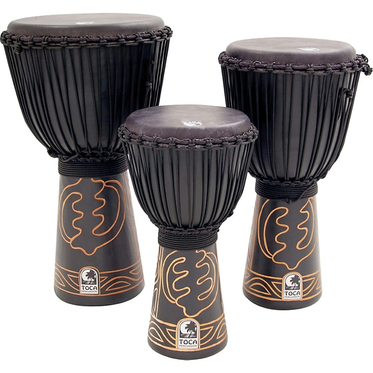 Toca Synergy Black Mamba Djembe with Bag and Djembe Hat 12 In