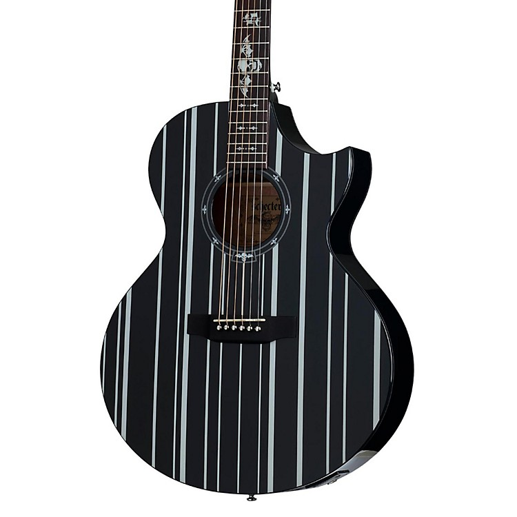 Schecter Guitar ResearchSynyster Gates 3700 Acoustic-Electric GuitarGloss Black with Silver Pinstripes