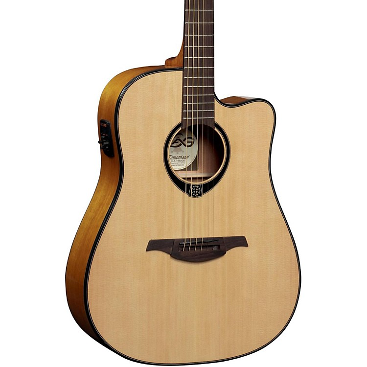 Lag Guitars T66DCE Dreadnought Cutaway Acoustic-Electric Guitar Natural