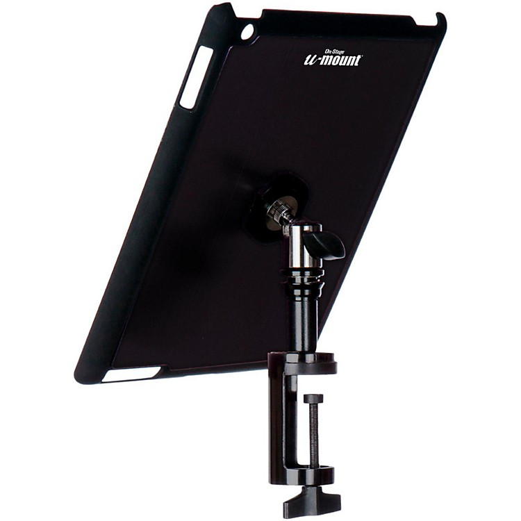 On-Stage Stands TCM9163 Quick Disconnect Table Edge Tablet Mounting System with Snap-On Cover Black