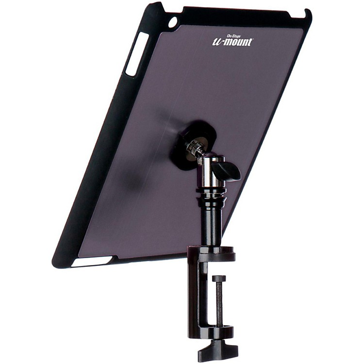On-Stage Stands TCM9163 Quick Disconnect Table Edge Tablet Mounting System with Snap-On Cover Gun Metal
