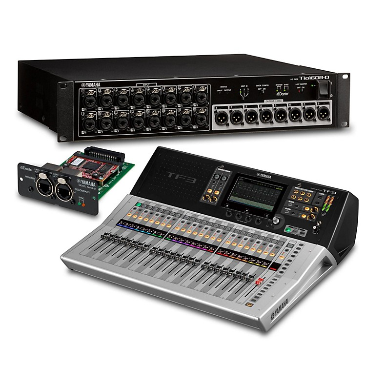 YamahaTF3 24-Ch Digital Mixer with Tio1608-D Dante Stage Box and Expansion Card