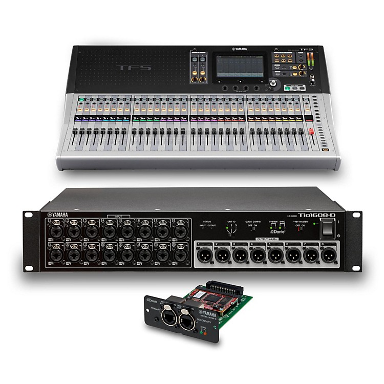 YamahaTF5 32-Ch Digital Mixer with Tio1608-D Dante Stage Box and Expansion Card