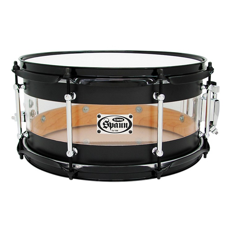 Spaun TL USA Hybrid Snare Flat Black and Clear Acrylic 6.5x13