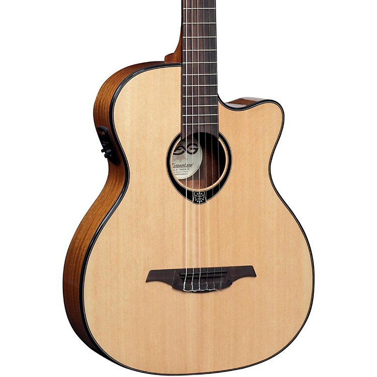 Lag Guitars TN66ACE Nylon-String Auditorium Cutaway Acoustic-Electric Guitar