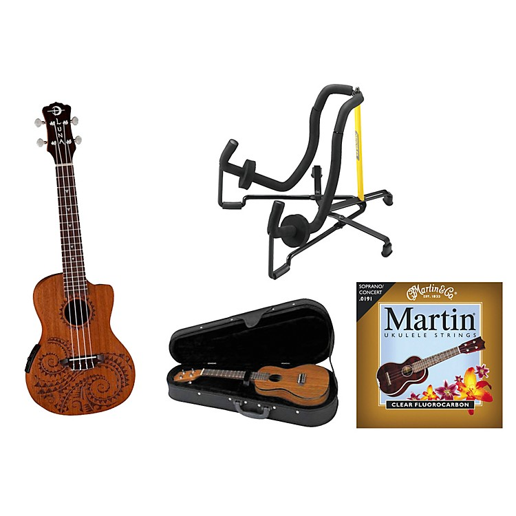 Luna Guitars Tattoo Acoustic-Electric Concert Ukulele Bundle