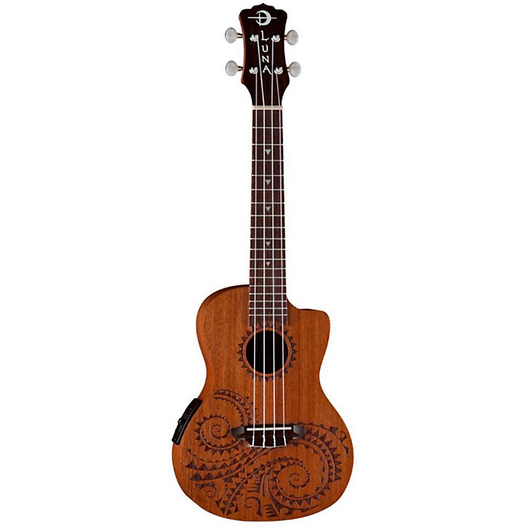 Luna Guitars Tattoo Concert Ukulele with Preamp Mahogany with Tattoo Laser Etching and Satin Finish