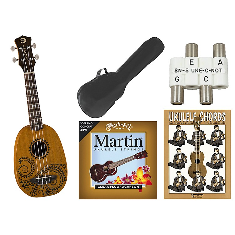 Luna Guitars Tattoo Pineapple Soprano Ukulele Bundle Mahogany