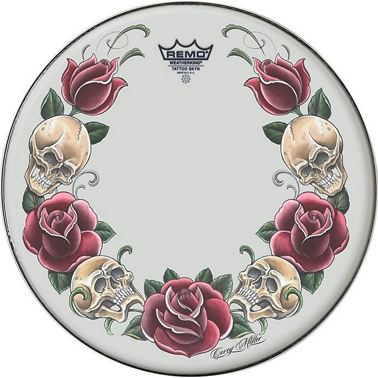 RemoTattoo Skyn Drumhead14 in.Rock & Roses Graphic