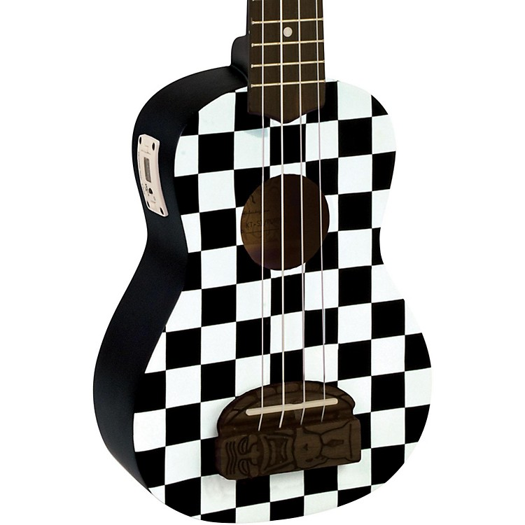 Kohala Tiki Soprano Ukulele with Tuner Checker Board