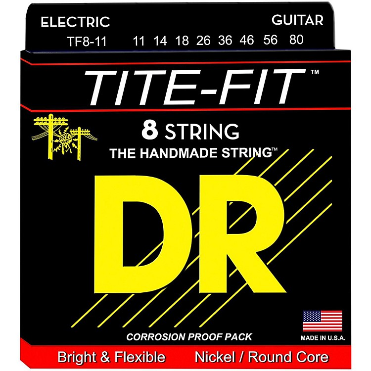 DR StringsTite-Fit Nickel Plated Extra Heavy 8-String Electric Guitar Strings (11-80)
