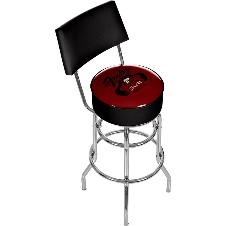 Fender Top Hat 30 Quot Bar Stool With Back Red And Black