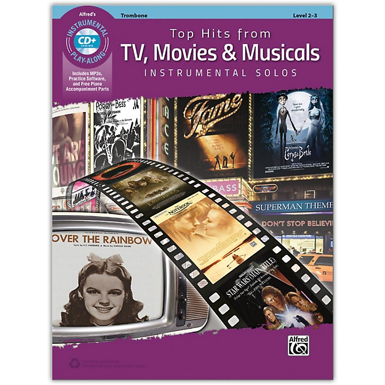 Alfred Top Hits from TV, Movies & Musicals Instrumental Solos Trombone Book & CD, Level 2-3