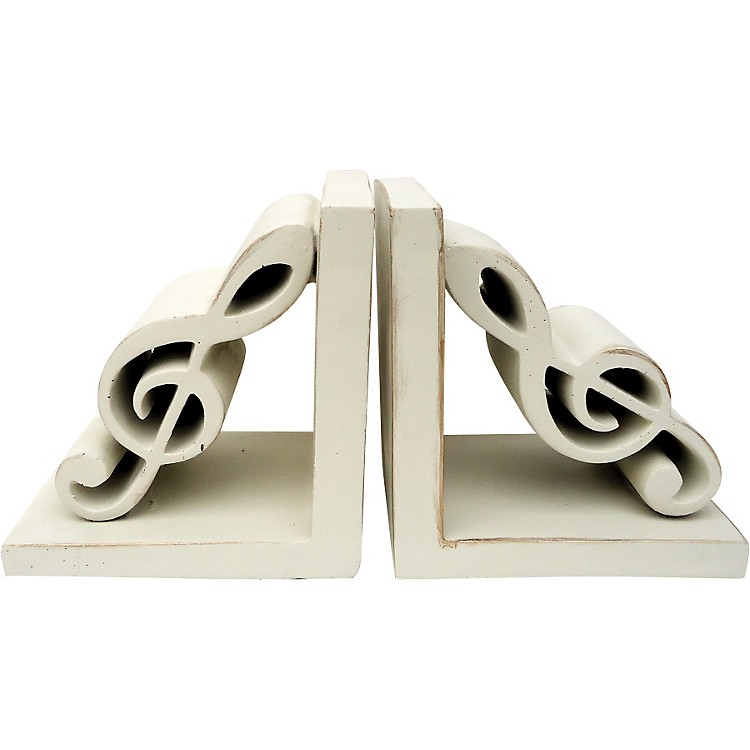 AIM Treble Clef Bookends (Antique White)