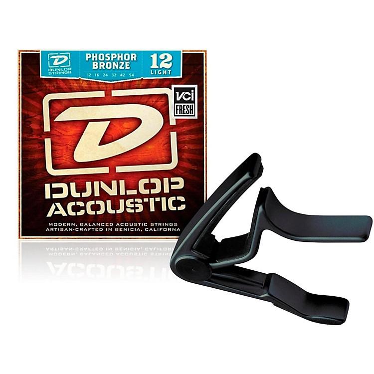 DunlopTrigger Curved Black Capo andPhosphor Bronze Light Acoustic Guitar Strings
