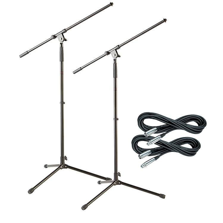 Musician's GearTripod Mic Stand with 20 Foot Mic Cable (2 Pack)