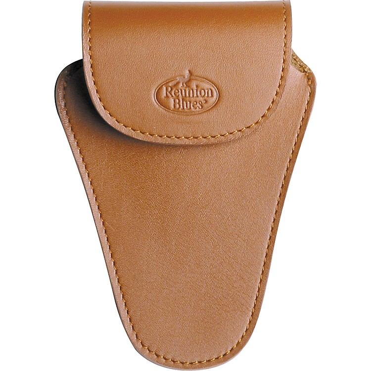 Reunion Blues Trombone Mouthpiece Pouch Med Brown Leather, Slvr Hw