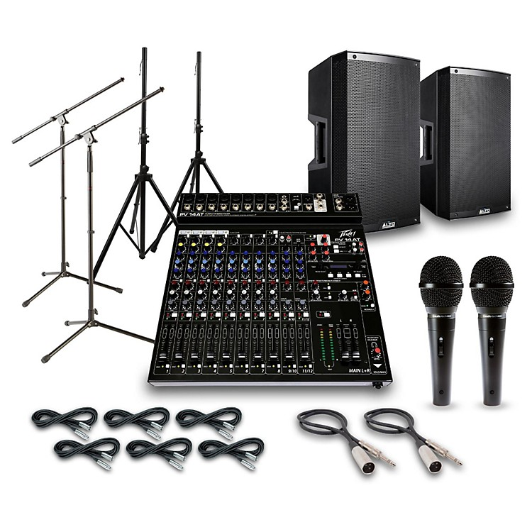 AltoTruesonic TS215 with Peavy PV14AT Mixer PA System