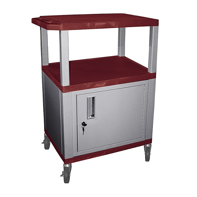 H. WilsonTuffy Cart with Lockable CabinetBurgundy and NickelSmall