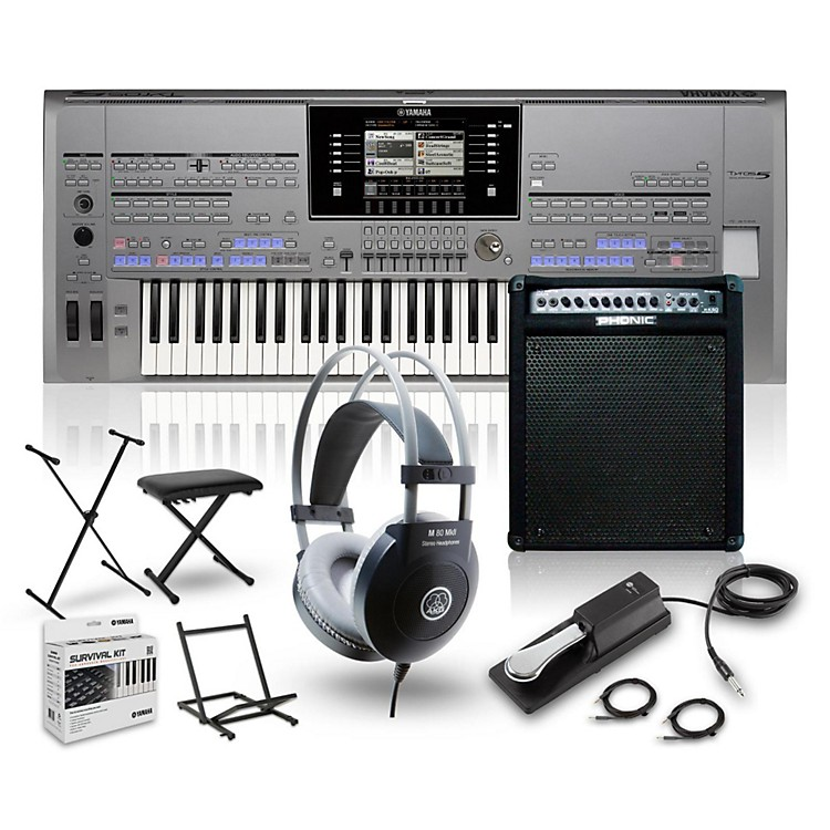 YamahaTyros5-61 with Keyboard Amplifier, Headphones, Bench, Stand, and Sustain Pedal