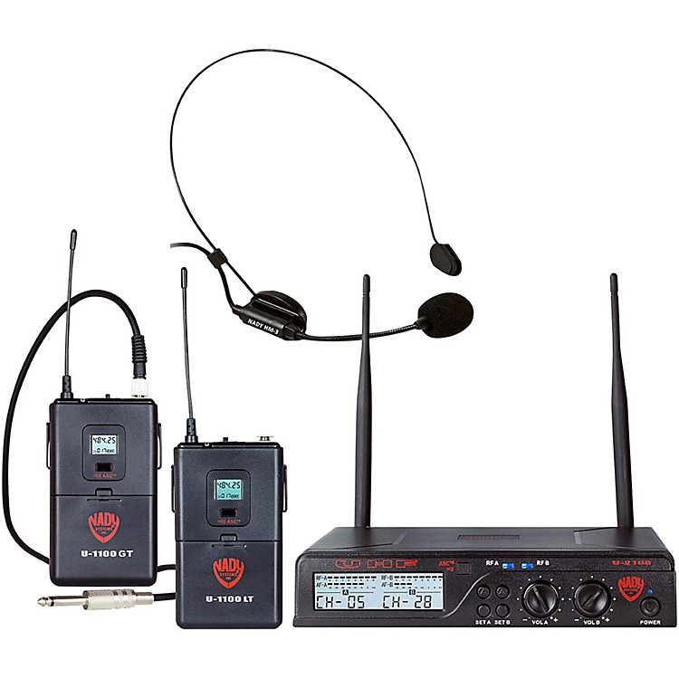 NadyU-2100 Dual 100-Channel UHF Wireless Instrument/Guitar and Headmic Microphone System/Band A/BBand A and B